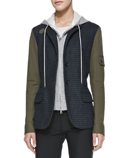 Veronica Beard Army-Sleeves Jacket with Removable Hoodie Dickey