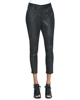 rag & bone/JEAN Dash Cropped Suede Trousers, Black
