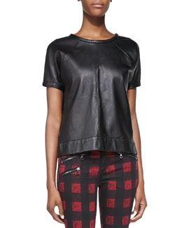 rag & bone/JEAN Lambskin Leather Sweatshirt, Black