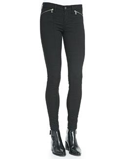 Zip-Pocket Skinny-Leg Jeans, Black
