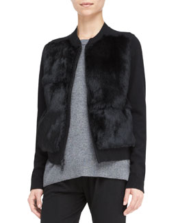 Vince Rabbit-Fur Stand-Collar Cardigan