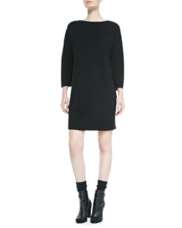 Vince SILK BACK SWTR DRESS / BLACK