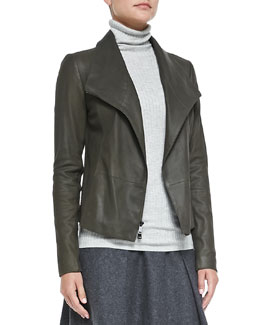 Vince Leather Scuba Jacket, Foliage