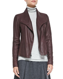 Vince Leather Scuba Jacket, Shiraz