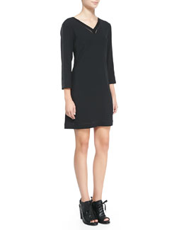 Rag & Bone Lydia Leather-Trim Jersey Dress