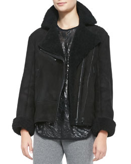 Rag & Bone Shearling Fur Asymmetric Zip Jacket
