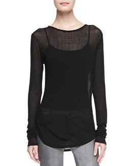 J Brand Ready to Wear Sophia Sheer Long-Sleeve Tee