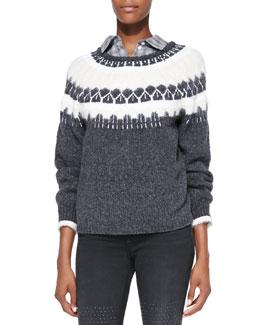 J Brand Ready to Wear Kasia Two-Tone Knit Sweater