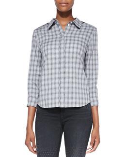 J Brand Ready to Wear Vika Faded Plaid Cotton Shirt