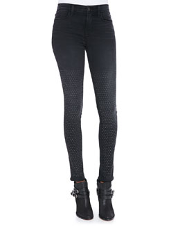 J Brand Jeans 231 Maria Graphite High-Rise Studded Skinny Jeans