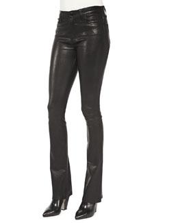 J Brand Jeans Remy Lambskin High-Rise Pants, Noir