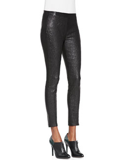 J Brand Jeans Smooth/Snake-Print Leather Leggings