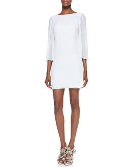 Alice + Olivia Odette Sheer-Sleeve Fitted Dress