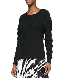 Ohne Titel Tufted-Pattern Knit Pullover Sweater, Black