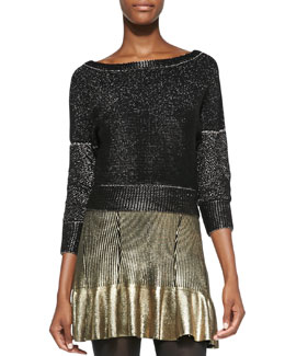 Ohne Titel Shimmery Metallic Knit Boat-Neck Sweater