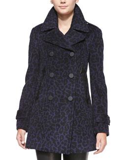 Rebecca Taylor Leopard-Print Felt Pea Coat
