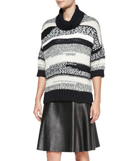 10 Crosby Derek Lam Loose Striped Knit Turtleneck Sweater