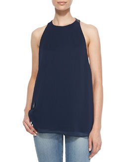 Alice + Olivia Haber Leather T-Back Swing Tank