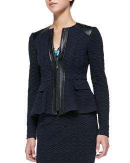 Nanette Lepore Keyhole Leather-Trim Textured Jacket