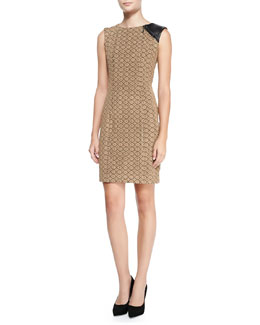 Nanette Lepore Looking Glass Leather-Shoulder Sheath Dress