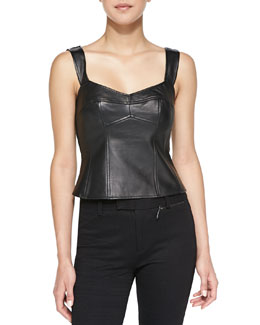 Nanette Lepore Open & Shut Leather/Ponte Corset Top