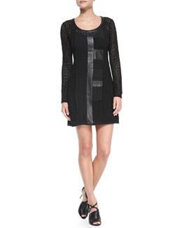 Nanette Lepore Wasn't Me Patchwork Long-Sleeve Dress