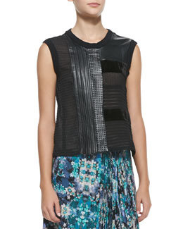 Nanette Lepore Getaway Leather/Patchwork Sleeveless Top