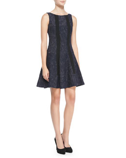 Nanette Lepore Scandal Clandestine Flared Tweed Dress