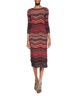 M Missoni Fancy Ripple-Knit Mid-Calf Dress