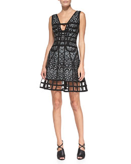 Herve Leger Lora Sleeveless Sundial Dress