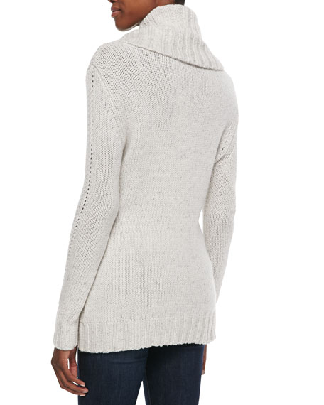 Chunky Pointelle-Trim Cashmere Sweater