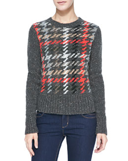 Autumn Cashmere Plaid Rib-Trim Cashmere Sweater