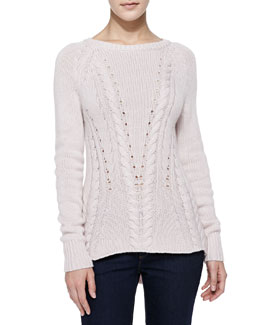 Autumn Cashmere High-Low Mixed-Knit Cashmere Sweater
