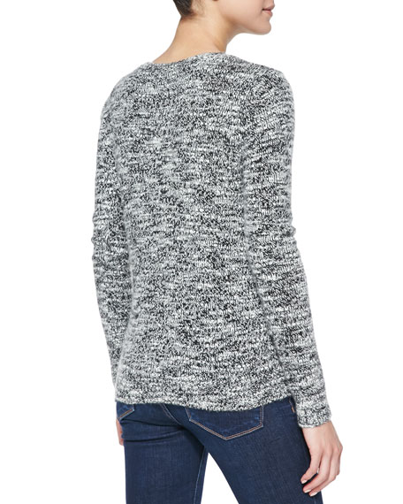 Heart Tweed-Pattern Cashmere Sweater