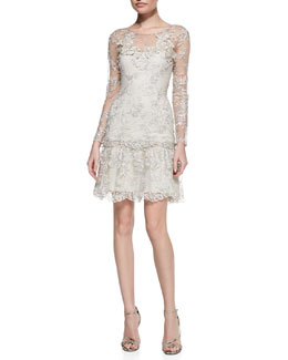 Notte by Marchesa Lace Ruffle-Hem Cocktail Dress