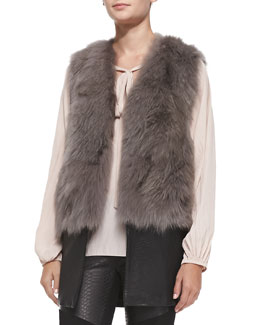 Ramy Brook Fox Fur & Leather Vest