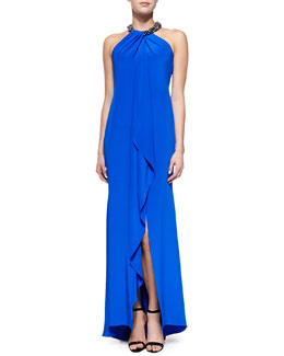 Carmen Marc Valvo Halter Beaded-Neck Gown