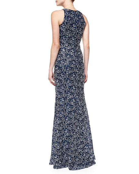 Sleeveless Ribbon Lace Gown