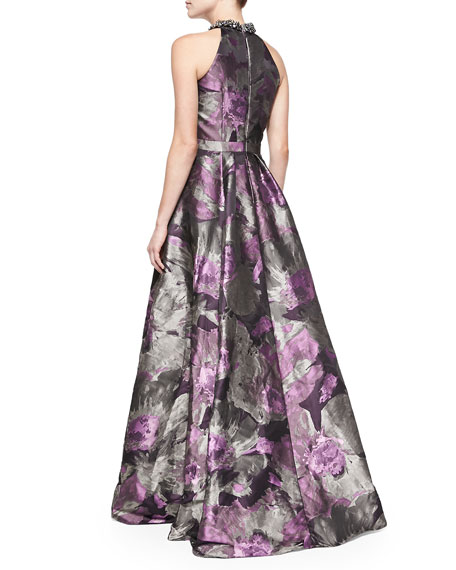 Beaded Halter-Neck Floral Gown