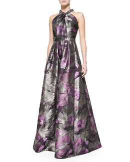 Carmen Marc Valvo Beaded Halter-Neck Floral Gown