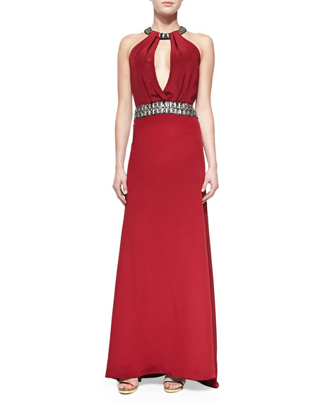 Beaded Halter-Neck & Waist Gown