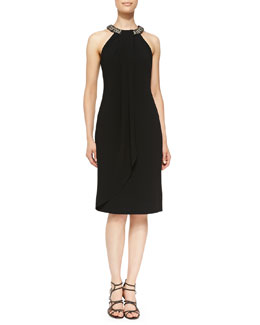 Carmen Marc Valvo Beaded Halter-Neck Cocktail Dress