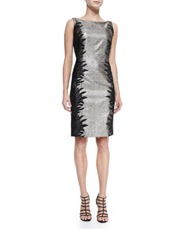 Carmen Marc Valvo Women's Sleeveless Two-Tone Cocktail Dress, Women's