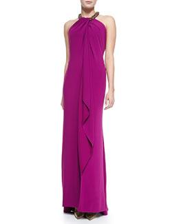 Carmen Marc Valvo Women's Beaded Halter Draped Front Gown, Women's