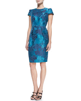 Carmen Marc Valvo Women's Short-Sleeve Floral Jacquard Cocktail Dress, Women's
