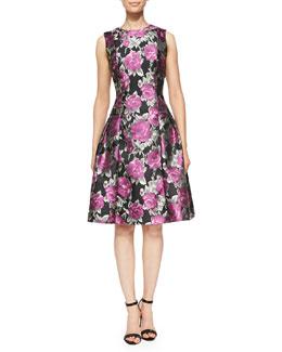 Carmen Marc Valvo White Label Flared Floral Cocktail Dress