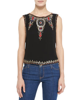 Alice + Olivia Cecillie Embellished-Trim Silk Top