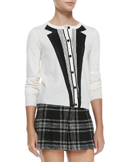 Alice + Olivia Long-Sleeve Knit Tuxedo Cardigan