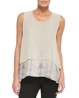 Elie Tahari Rudy Sleeveless Two-Tiered Blouse