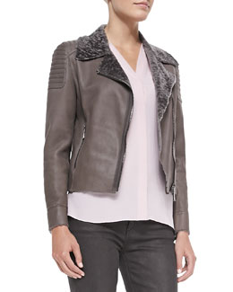 Elie Tahari Mae Lambskin Jacket with Fur Collar, Chicory